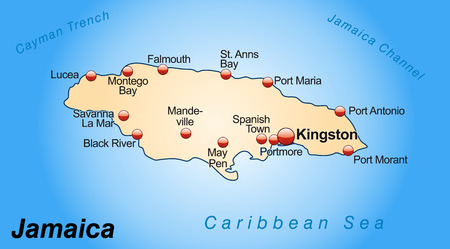 black maria: Map of Jamaica as an overview map in pastel orange