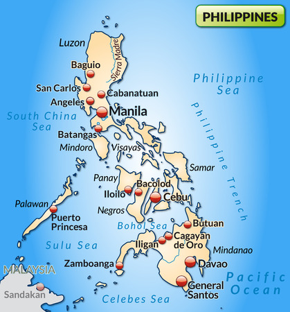 Map Of Philippines As An Overview Map In Gray Royalty Free - Map of philippines