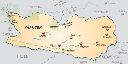 spittal: Map of kaernten as an overview map in pastel orange