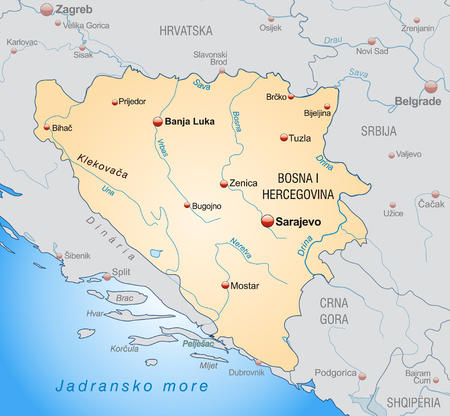 bosnia and hercegovina: Map of Bosnia and Herzegovina as an overview map in pastel orange