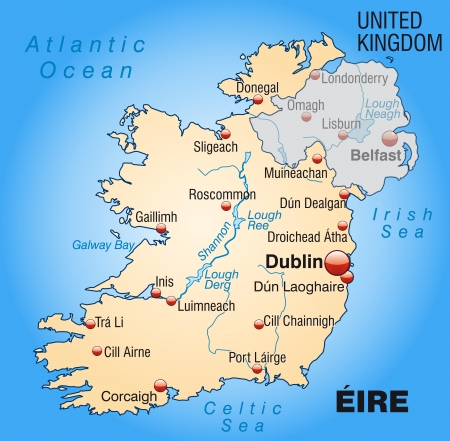 dun: Map of Ireland as an overview map in pastel orange Illustration