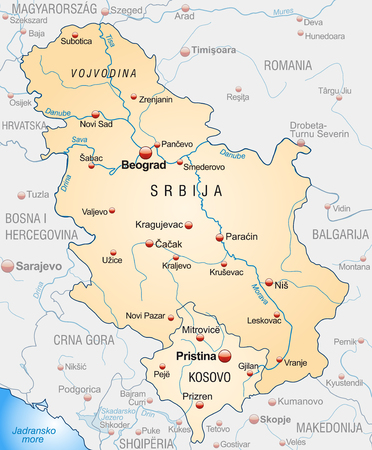 Map of Serbia as an overview map in pastel orange