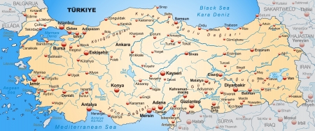 Map of Turkey as an overview map in pastel orange