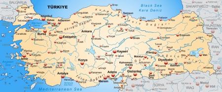 Kaart van Turkije als een overzichtskaart in pastel oranje Stock Illustratie