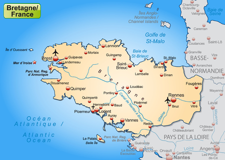 overview: Map of Brittany as an overview map in pastel orange Illustration