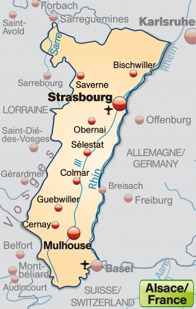 Map of Alsace as an overview map in pastel orange Illustration
