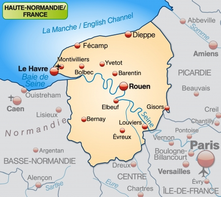 normandy: Map of Upper Normandy as an overview map in pastel orange