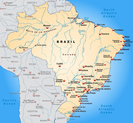 belem: Map of Brazil as an overview map in pastel orange