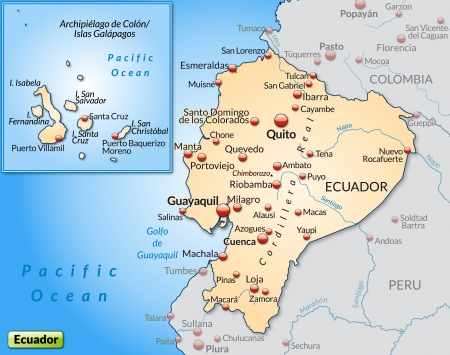 Map of ecuador as an overview map in pastel orange