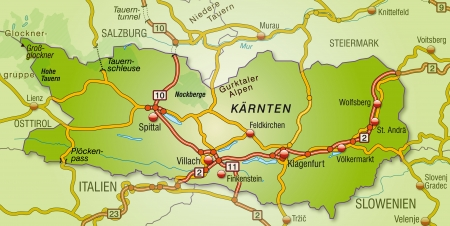 spittal: Map of kaernten with highways   Illustration