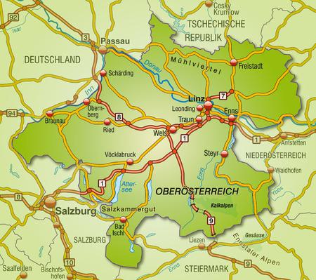 upper austria: Map of Upper Austria with highways