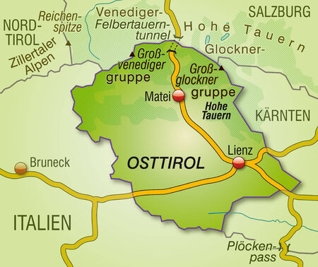 Map of East Tyrol with highways   Vector