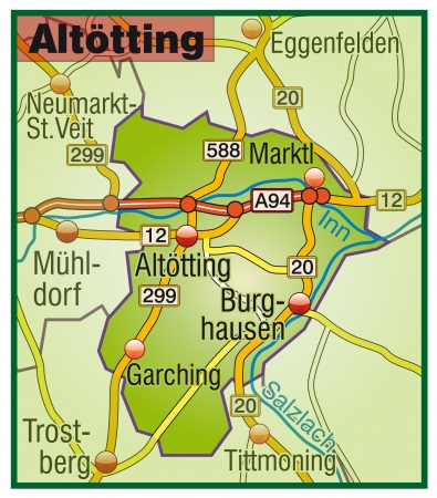 geographically: Map of Altoetting with highways   Illustration