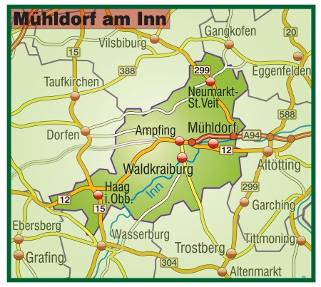 Map of Muehldorf at the Inn with highways   Illustration