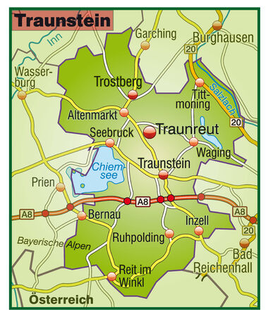 geographically: Map of Traunstein with highways   Illustration