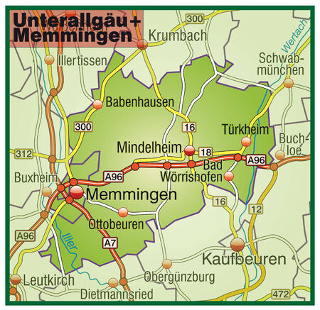 motorway: Map of Unterallgaeu Memmingen with highways