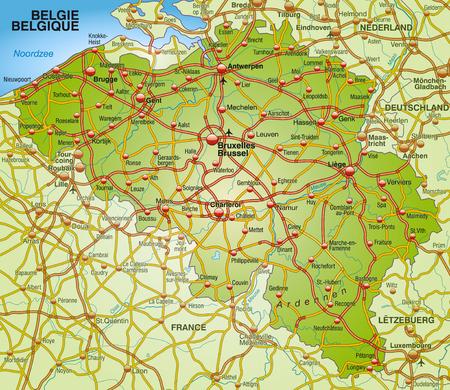 Map of belgium with highways