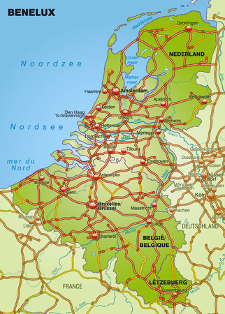 benelux: Map of Benelux with highways   Illustration