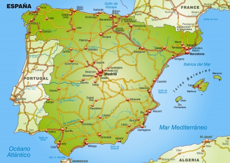 spain map: Map of Spain with highways   Illustration