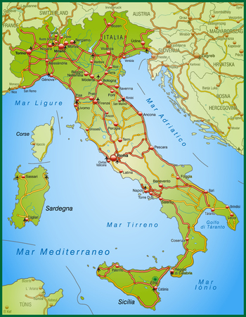 motorway: Map of Italy with highways
