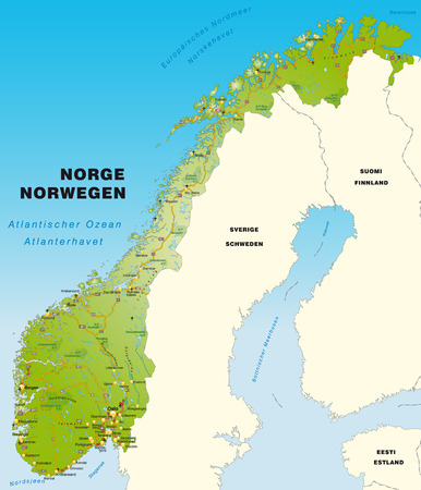 geographically: Map of Norway with highways   Illustration