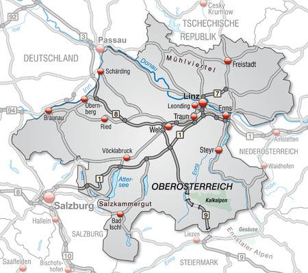 Map of Upper Austria with highways in gray Vector