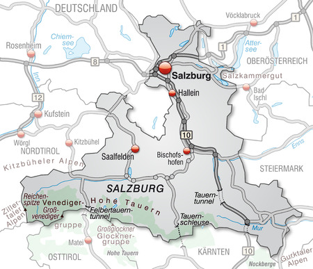 geographically: Map of salzburg with highways in gray Illustration