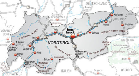Map of tyrol with highways in gray Vector
