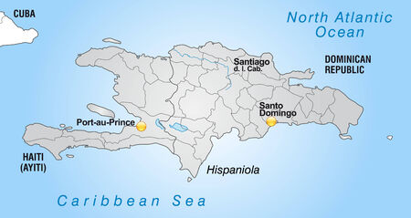 Map of hispaniola with borders in gray Vector