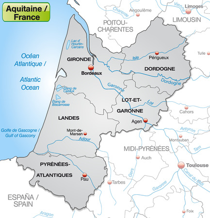 bordeaux region: Map of aquitaine with borders in gray