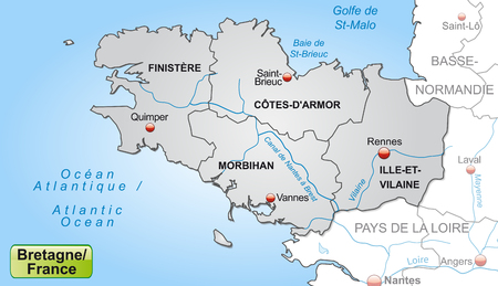 brittany: Map of Brittany with borders in gray