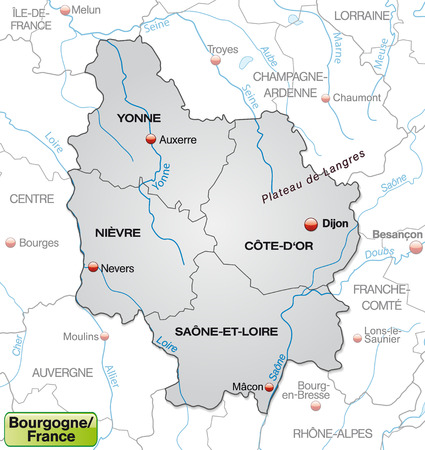 mines: Map of Burgundy with borders in gray