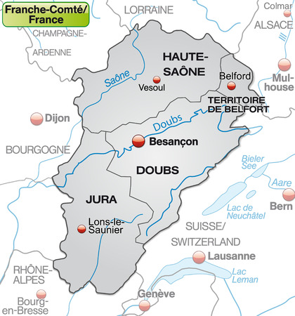 canton: Map of Franche-Comte with borders in gray Illustration