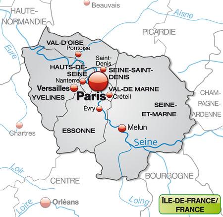 Kaart van Ile-de-France met randen in grijs