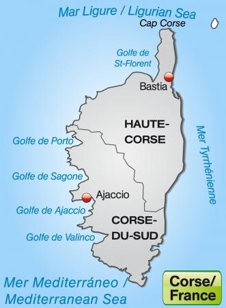ajaccio: Map of corsica with borders in gray