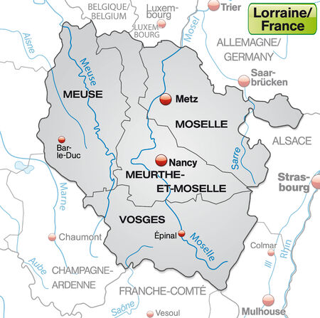 Map of lorraine with borders in gray Illustration