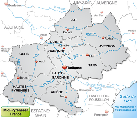toulouse: Map of Midi-Pyrenees with borders in gray