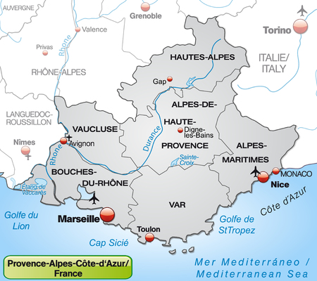 d���azur: Map of Provence-Alpes-Cote d Azur with borders in gray Illustration