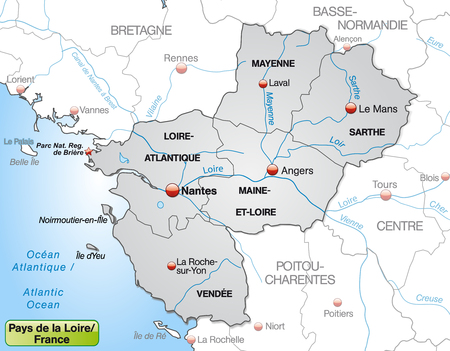 Map of Pays de la Loire with borders in gray