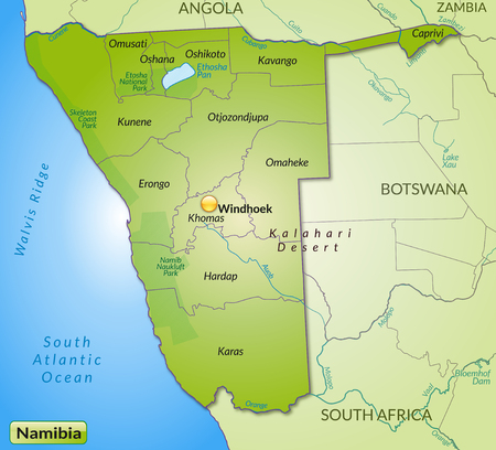kalahari desert: Map of Namibia with borders in green Illustration