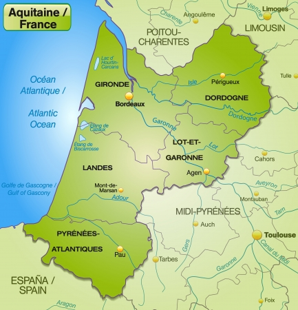 aquitaine: Map of aquitaine with borders in green