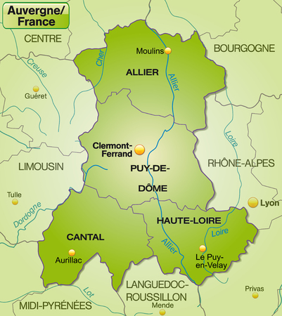 aurillac: Map of auvergne with borders in green