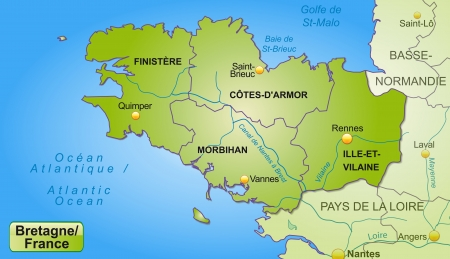 Map of Brittany with borders in green Vectores