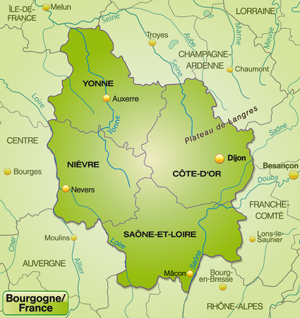 mines: Map of Burgundy with borders in green