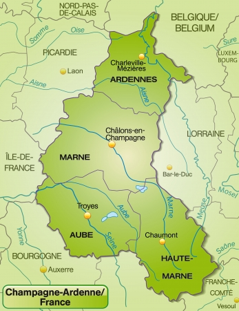 champagne region: Map of Champagne-Ardenne with borders in green
