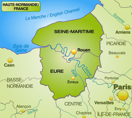 Map of Upper Normandy with borders in green Vector