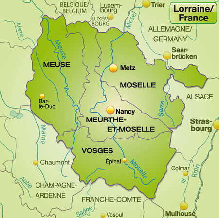 canton: Map of lorraine with borders in green