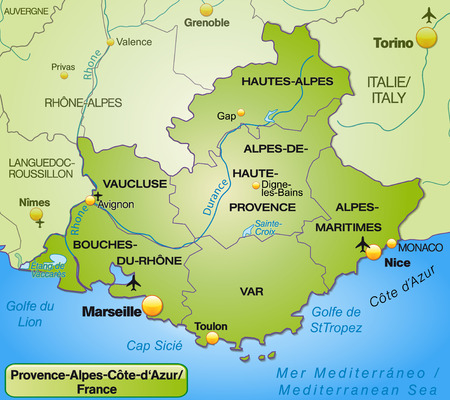 d'azur: Map of Provence-Alpes-Cote d Azur with borders in green