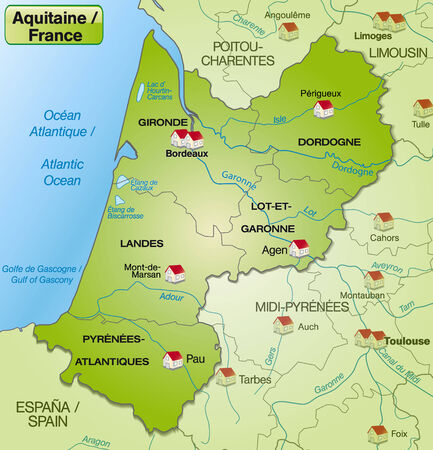 Map of aquitaine with borders in green Vector