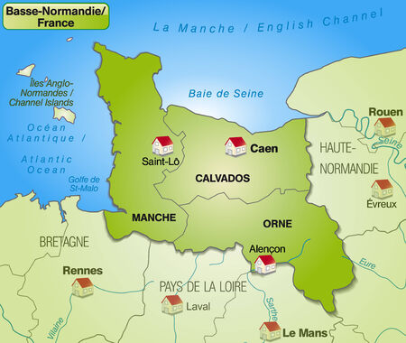 basse normandy: Map of Lower Normamdy with borders in green